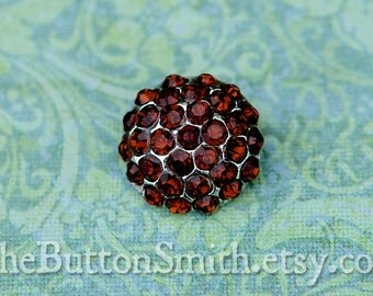 Rhinestone Buttons -Holly- (18mm) RS-057 in Topaz - 20 piece set