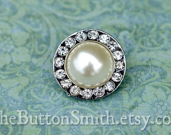Rhinestone & Pearl Buttons -Madison- (20mm) RS-039 - 20 piece set