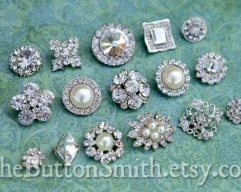 Rhinestone Buttons Mix - Bridal Collection - 107 - 30 piece set