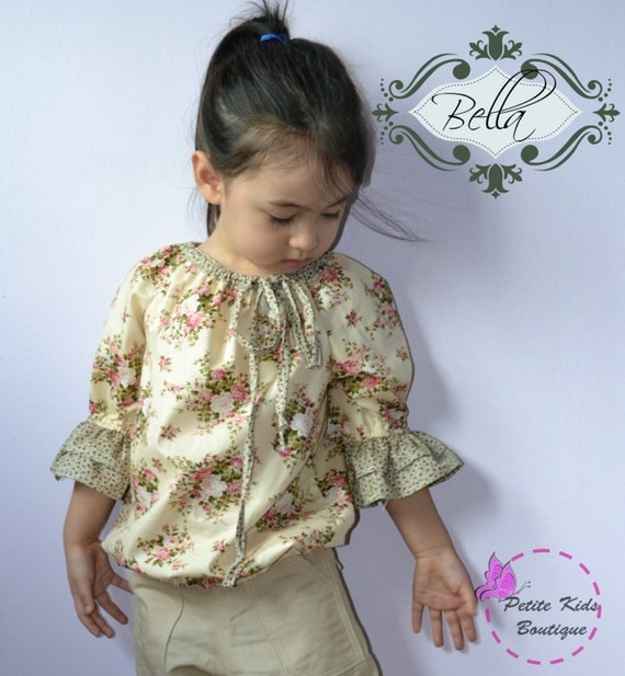 Bella Blouse for Girls 12M-10Y PDF Pattern & Instructions -3/4 sleeves-ruffles-elastic waist-drawstring tie-contrasting neckline-easy sew