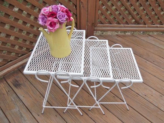 Vintage Mesh Wrought Iron Nesting Tables Set Of Three