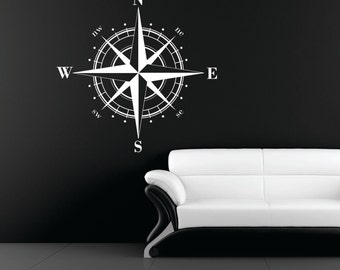 Medium Compass Rose Nautical Vinyl Wall Decal, Ceiling Medallion, Removable