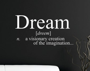 Dream Definition  Removable Wall Decal Sticker  FREE SHIPPING