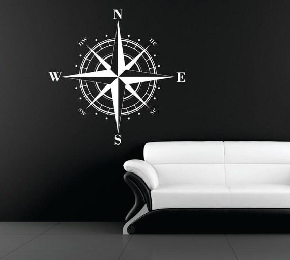 "23"" Compass Rose Nautical Vinyl Wall Decal"
