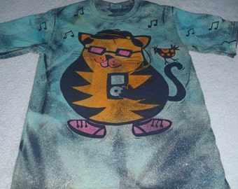 Cool cat variation, cat with pink glasses, ipod, hat, shoes, and funky bird on the tail, man's small discharge t-shirt with procion dyes