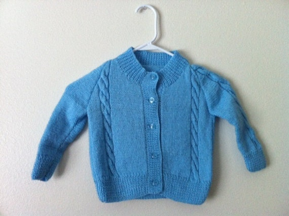 Baby Sweater Cardigan, Jacket, in BLue, 1,2 years old Boy Baby Years baby  Cardigan