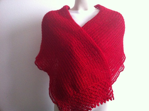 Knitting Red Shawl, Caplet, Wrap, Hand Made Women Shawl, Usa Seller