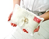 vintage postcard ring bearer pillow . with postmark and red stamp . for a cottage chic wedding