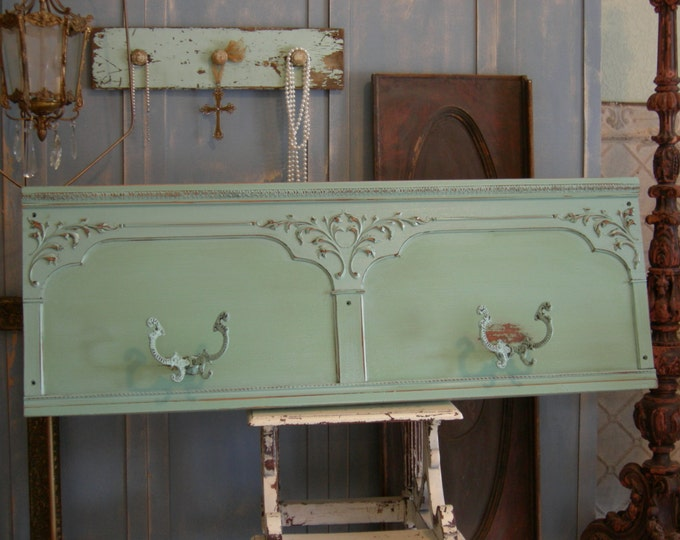 "Aqua Green Painted Coat Rack Wall Hanging Chic 4 Hooks 53"" long Makes Fab Headboard - The Shabby Chic Furniture"