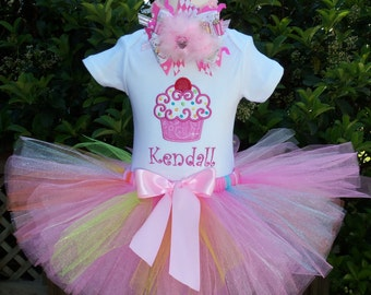 Cupcake Birthday Outfit --PERSONALIZED--Party Outfit- Photo Prop