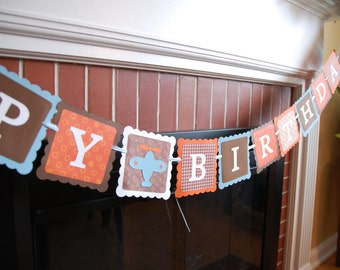 Airplane Happy Birthday Banner, Take Flight, Airplane Party, Airplane Birthday Party, Brown, Orange, Blue