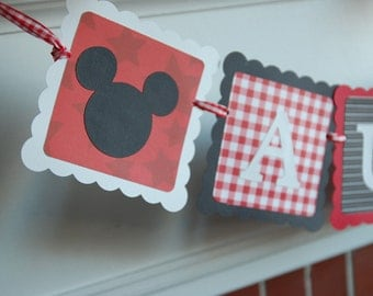 Mickey Mouse Banner, Name Banner, Mickey Mouse Birthday,
