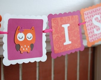 Owl Banner, Owl Birthday, Owl Baby Shower, Whoo's 2, Owl Party Supplies, Orange Hot Pink
