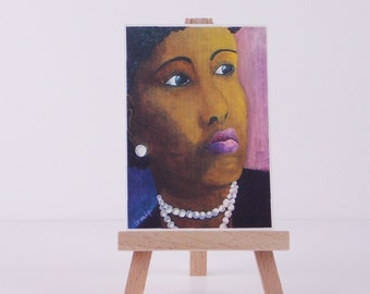 ACEO Lady with Pearl Necklace mini Art Print of Original Painting   miniature painting
