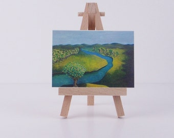 ACEO River Landscape  mini art print of original painting  miniature painting