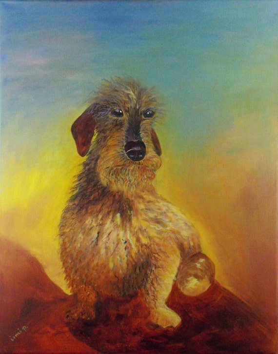 Darling Schnauzer Painting Dog Painting Acrylic Painting Scruffy Dog Painting