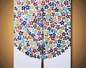 FREE GIFT OFFER Painting Happy Tree Flower Blossom Acrylic Metallic Rainbow Flowers 14x11 High Quality Original Modern Fine Art