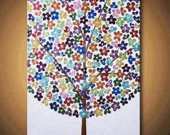 Happy Tree Painting Flower Blossom Beautiful Acrylic Metallic Rainbow Paints Flowers - 14x11 High Quality Original Modern Fine Art