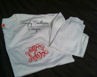 LONG SLEEVE MONOGRAM Pocket T-shirts , Greek Embroidery Available