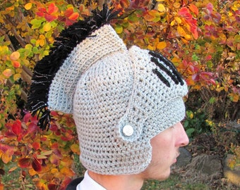 Crocheted Knight Hat, Medieval Knight Helmet, Grey Knight's Hat, Crocheted Winter Hat