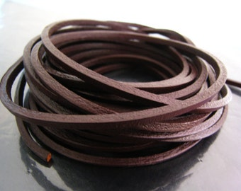 1 Yard of 3mm Brown Square Cubic Shape Genuine Leather Cord