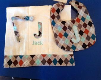 Personalized bib and burp cloth, Argyle, Personalized baby, boy, girl, bib, burp cloth and paci clip, Bibs, Burping