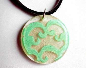 SALE Resin Pendant Necklace Leather Sterling Silver Flourish Turquoise Design White Pearl Resin CLEARANCE CLOSEOUT