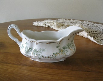 Vintage gravy bowl  China gravy bowl  Green transfer ware gravy bowl