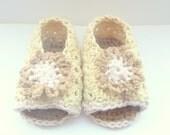 Crochet PATTERN BABY Booties Neapolitan Baby Peeptoe Sandals - INSTANT Download