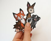 Fox Hedgehog Deer Skunk Vinyl Stickers Woodland Animals Set of 4 car or iphone