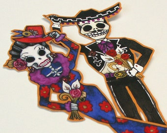 Day of the Dead Sticker Vinyl Decals Mariachi Skeleton Sugar Skull Couple Car or Craft