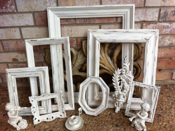Gallery Wall Frame Set empty gallery frames wedding white shabby chic vintage frame