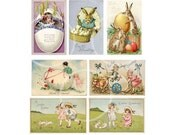 Vintage Easter Post Cards Download Printable for DIY Easter Cards, Scrapbooking clipart, party printables, collage