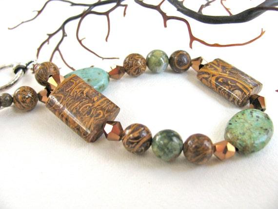 Turquoise with Elephant Jasper beaded bracelet, gemstones 251