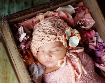 Newborn Bonnet - Simple Elegance Line - NECTAR - hand knit baby bonnet - photo prop - knitbysarah - Stitches by Sarah
