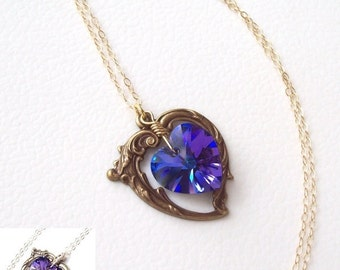 Gold Amethyst Necklace, Victorian Heart Necklace, purple heart, Swarovski crystal, wire wrapped, spring fashion, amethyst heart