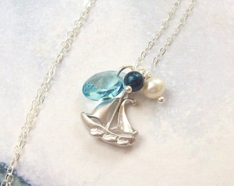 Sailboat Necklace, Aqua Tropical Necklace, sterling silver, matte, rhodium, freshwater pearl, Swarovski crystal pearl, summer, beach, blue