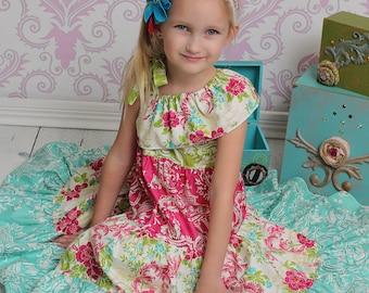 Corinna's One Shoulder Tiered Twirly Dress PDF Pattern sizes 6-12 months to 8 girls
