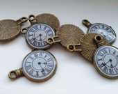 Clock Charm Bronze Eight Charms - Ships From USA