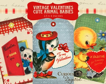 Cute Vintage Animal Valentine Hang Tags Digital Collage Sheet - 2.5 x 4 Inches -  INSTANT Printable Download