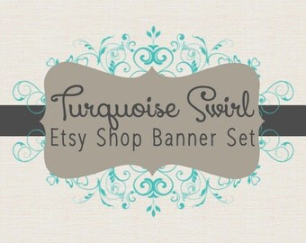 Etsy Shop Banner Set w/ New Size Cover Photo Turquoise and Gray Swirl - Pre-made Design - 6 Piece Set