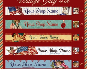 Vintage Fourth of July Etsy Shop Banner Set - Your Choice from 5 Pre-made Vintage Designs