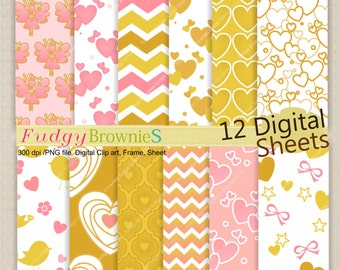 SALE,Digital Paper for invites ,valentines, engagement , hearts ,7.5x11', No.151 zig zag,  pink and gold ,  instant download
