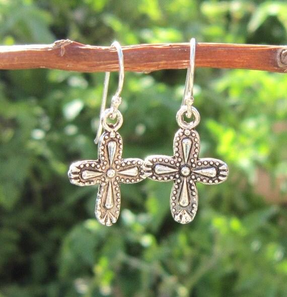 Dangling Cross Bracelet: Silver Cross Earrings. Silver Dangle Earrings. Silver Jewelry
