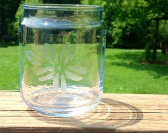 Small Etched Glass Jar