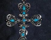 Southwest style vintage cross silver tone and  turquoise colored beads