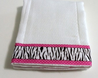 Baby Burp Cloth Zebra Stripes  Pink White Dots