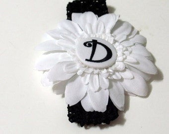 Baby Headband Black White Flower with Decorative Covered button