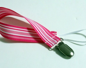 Bold Pink  Ribbon Pacifier Clip Pacifier Holder