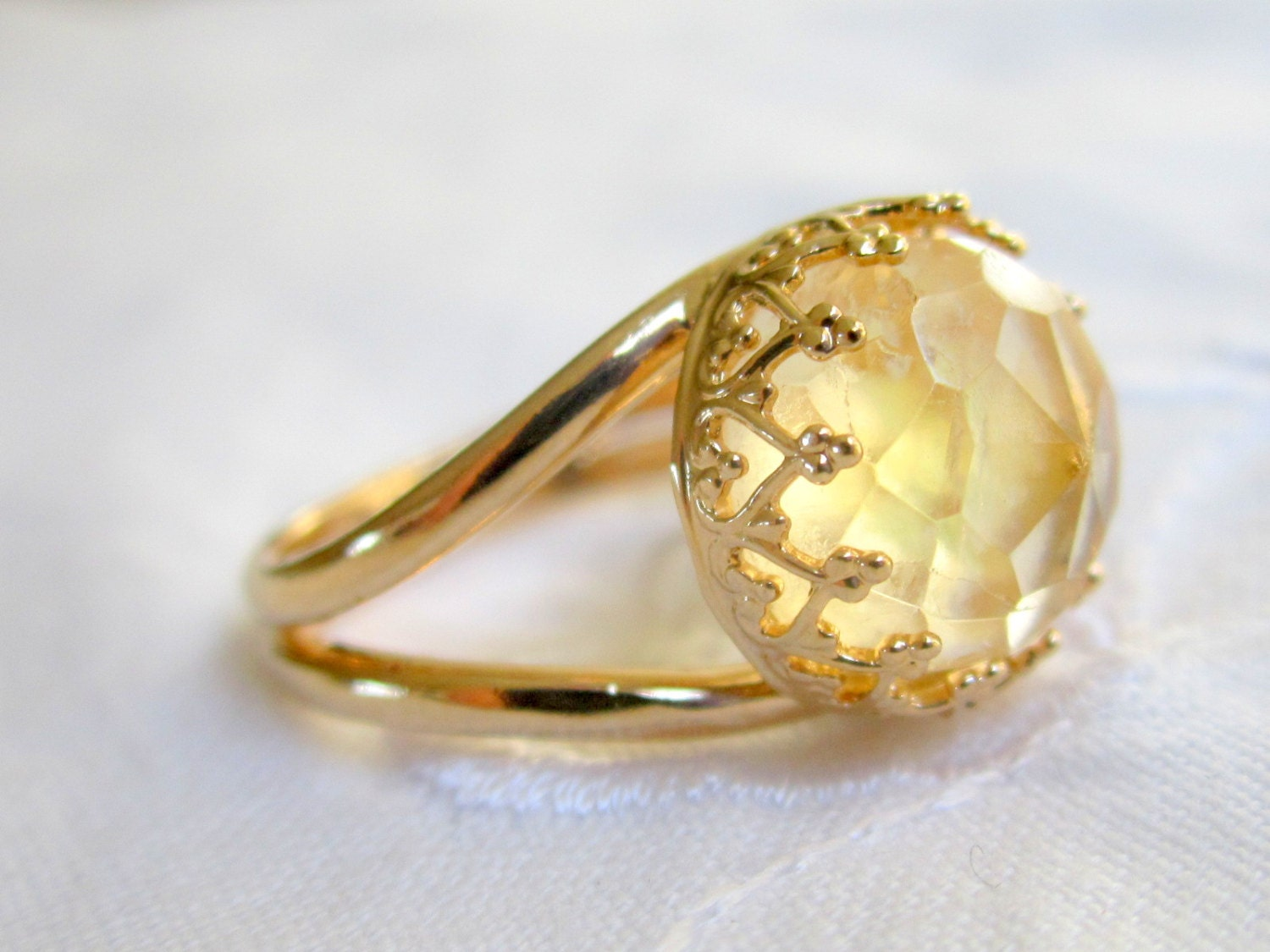 citrine ring gemstone ring gold ring vintage style ring